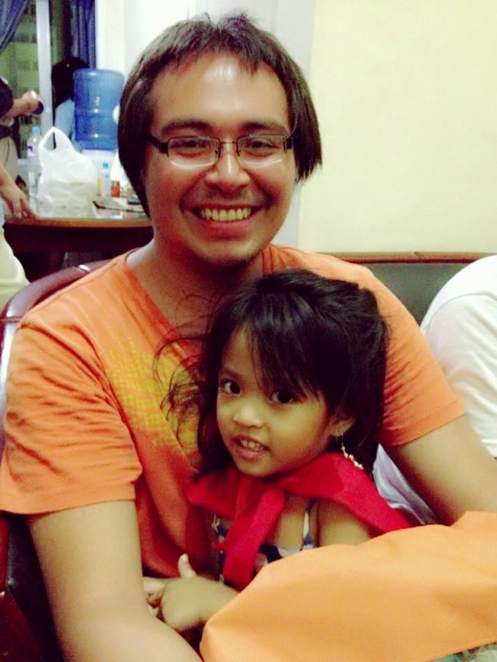 Joey Bread with one of the youngest members of our Filipino Cast.