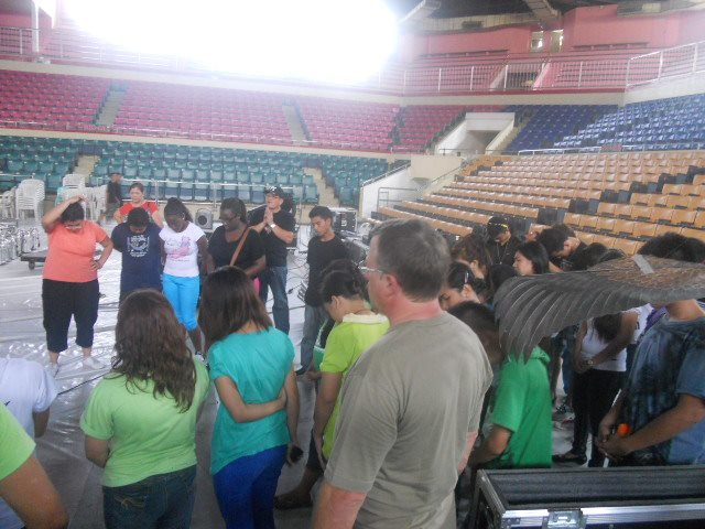 Team gathering before the start of rehearsal